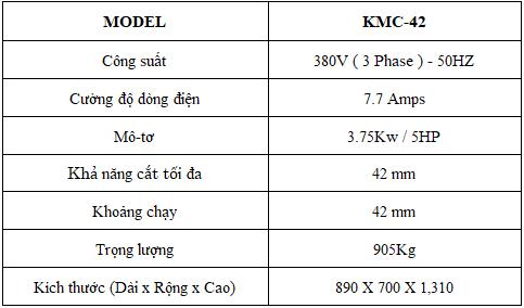 Thông số kỹ thuật máy cắt sắt Kunwoo KMC-42