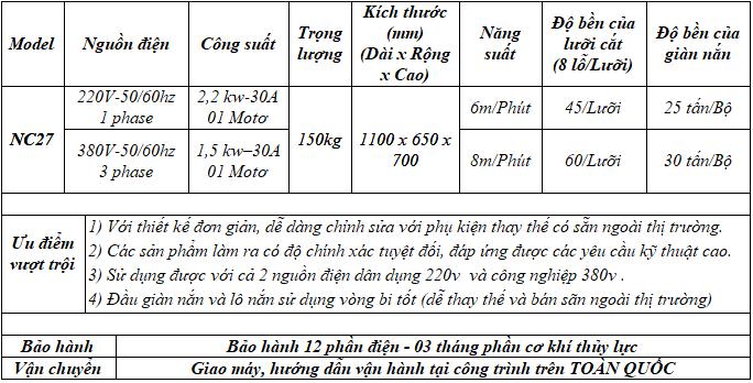 Thông số kỹ thuật máy duỗi cắt sắt tự động NC27